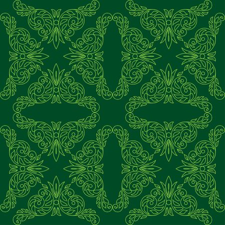 dark green seamless pattern with floral elements. Stock Vector - 12089981