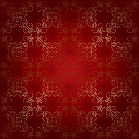 red seamless beautiful pattern with golden elements. Vector