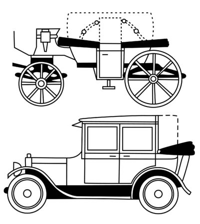 set of silhouettes of old cars. Vector