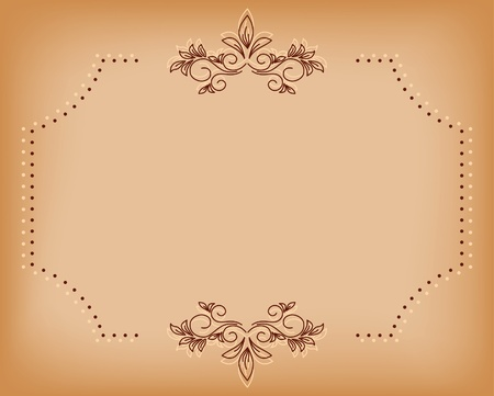 page curl: beige old card with brown tracery Illustration
