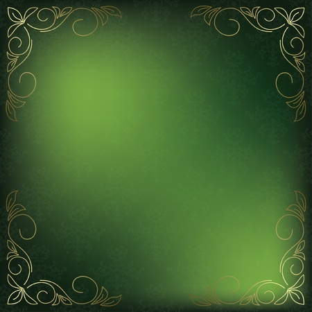 green card with golden decor in the corners  Vector