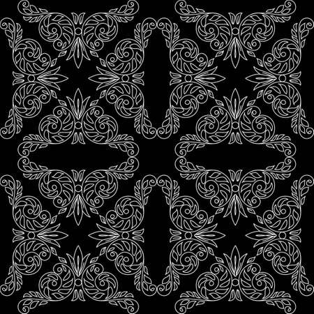 black seamless pattern with floral light elements - vector Vector