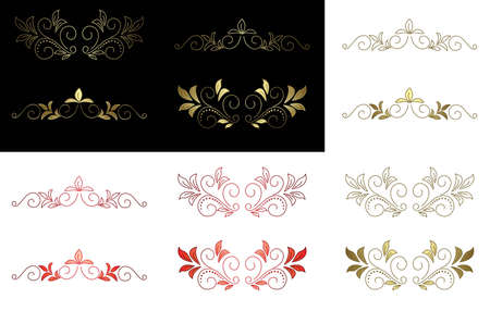vector floral golden and red design elements Vector