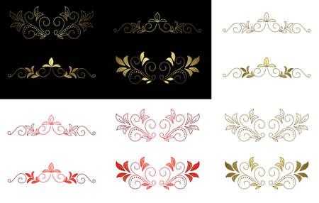 separator: vector floral golden and red design elements