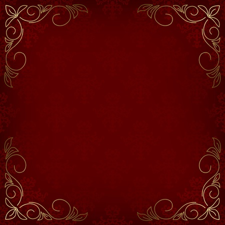 dark red card with pattern and golden decor in the corners - vector Vector