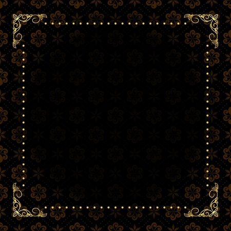 vector black card with gold frame Vector