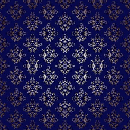 gold leaf: dark blue vector seamless background with gold gradient Illustration
