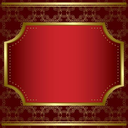 装飾的なカード センター ゴールド フレームとゴールドのテクスチャ - ベクトル