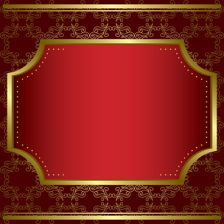 decorative card with center gold frame and gold texture - vector Stock Vector - 12492075