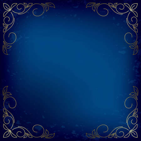 blue and gold: dark blue vector card with gold decor