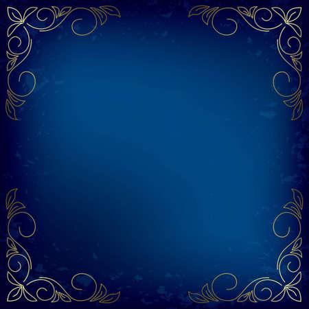 dark blue vector card with gold decor