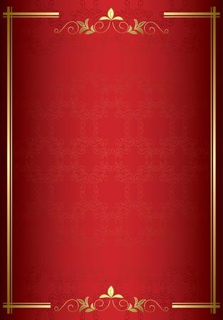 金の装飾と赤いベクトル エレガントなカード  イラスト・ベクター素材