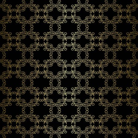 tracery: black pattern with golden tracery - vector