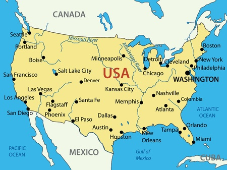 usa map: The United States of America - vector map