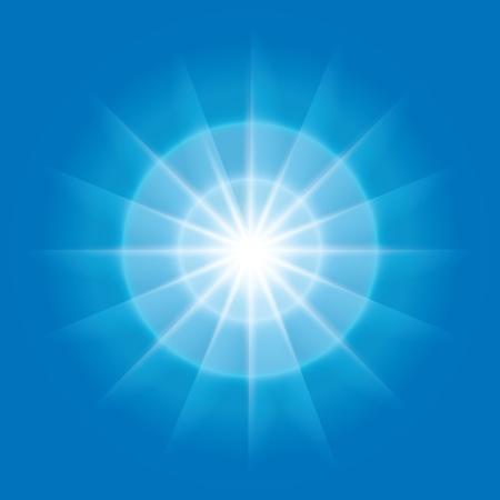 青色の背景に光を持つベクトル抽象放射状要素  イラスト・ベクター素材