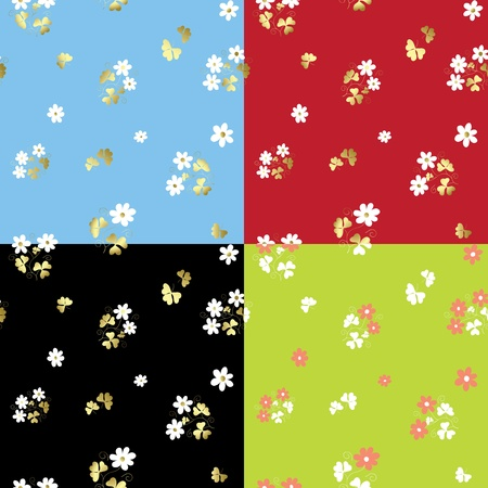 set of summer floral patterns - vector Vector