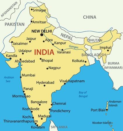 zeměpisný: Indická republika - vektorová mapa Ilustrace