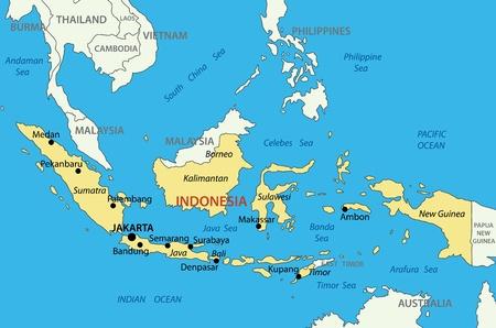 インドネシア共和国 - ベクトル マップ  イラスト・ベクター素材