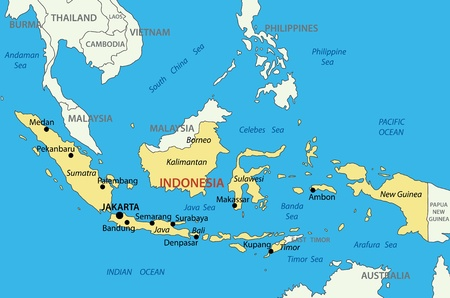 asia map: Republic of Indonesia - vector map