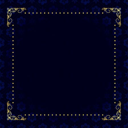 dark blue card with gold frame Stock Vector - 13005692