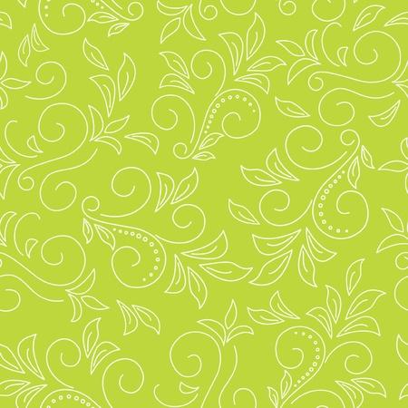 leaf curl: seamless light green pattern  with flora Illustration