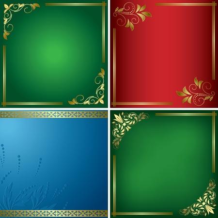 conjunto - las tarjetas de brillantes de vectores con marcos dorados