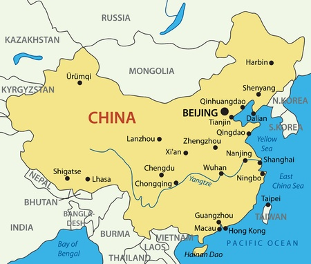 china map: Peoples Republic of China - vector map Illustration