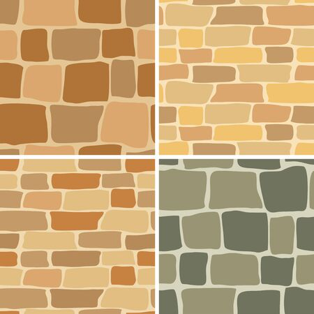 set in stone: set - vector stone wall - seamless patterns Illustration