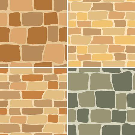set - vector stone wall - seamless patterns