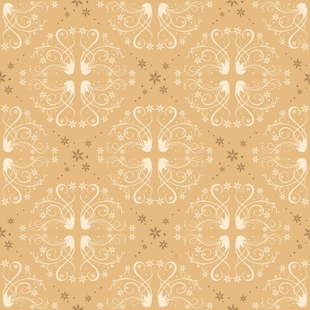 beige seamless floral pattern for background - vector Vector