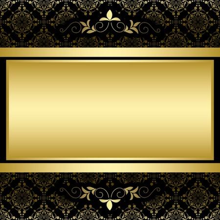 黒のビンテージ パターン上のゴールデン フレーム  イラスト・ベクター素材