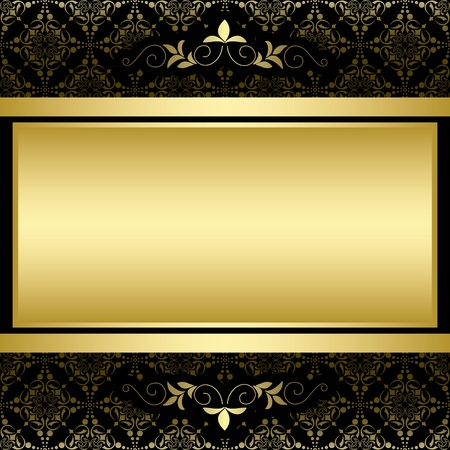 golden border: golden frame on black vintage pattern Illustration
