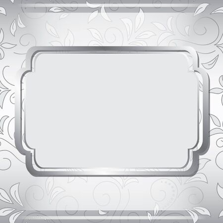 gray frame on floral background - vector Stock Vector - 13321724