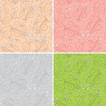 floral seamless patterns - colored backgrounds Vector