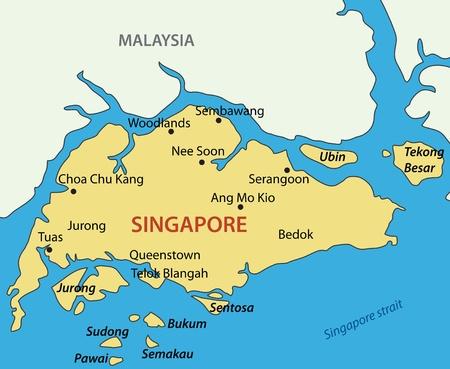 zeměpisný: Singapurská republika - vektorová mapa Ilustrace