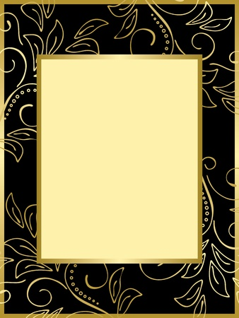 black and gold card with floral background - vector Vector