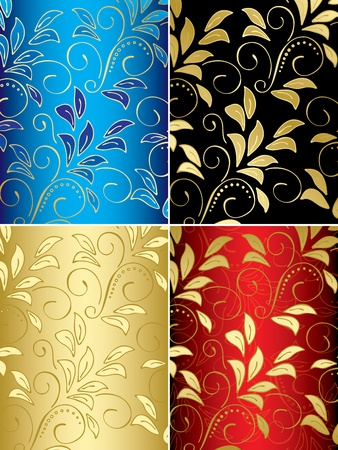 set of floral vector backgrounds with gradient Vector