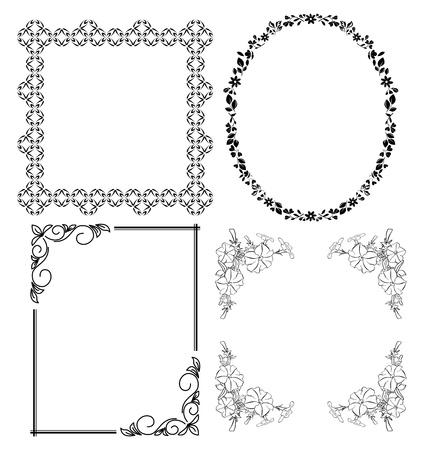 an oval: negros marcos decorativos - conjunto de vectores