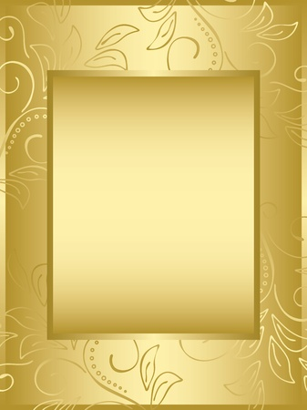 golden frame with floral background Stock Vector - 13594123
