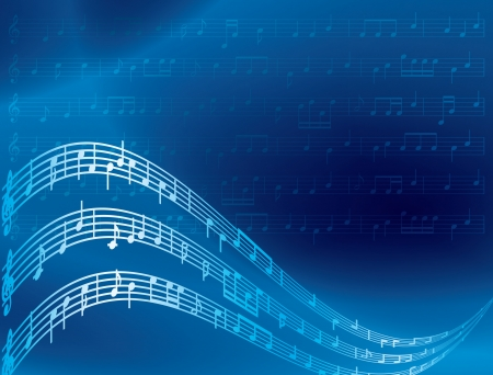 music notes - blue abstract background Vector