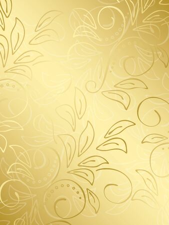 gold floral background with gradient - illustration Vector