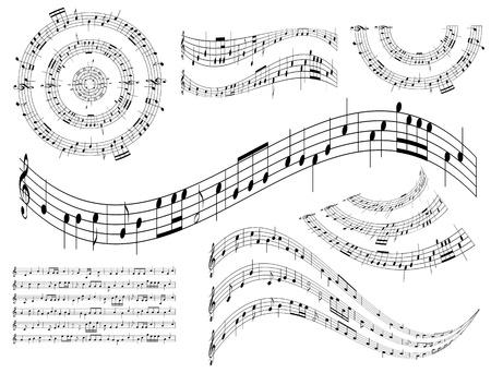 note musicali: musicali elementi astratti di design - set di illustrazione Vettoriali