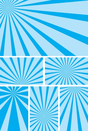 radial: blue backgrounds with radial rays - illustration set