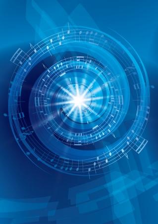 abstract music: blauwe abstracte muziek achtergrond - vector flyer