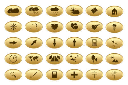 gold web buttons - vector set Vector
