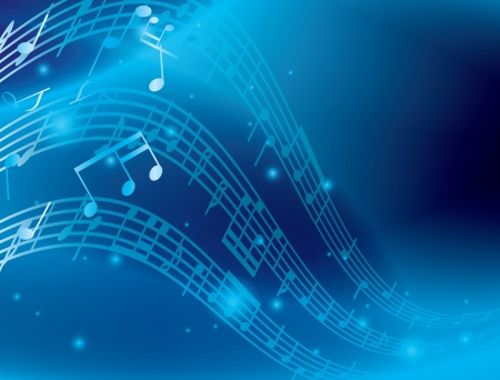melodic: blue abstract background with music notes Illustration