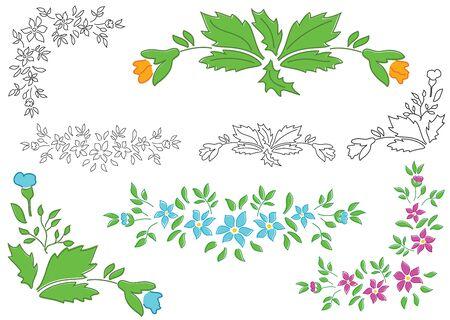 floral corner: vector set - floral elements for design Illustration