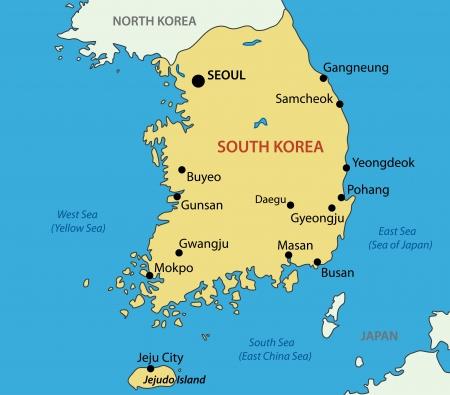 sur: República de Corea - mapa vectorial