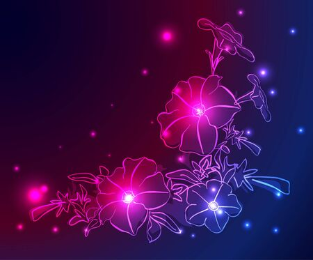 neon background with flowers and stars Vector