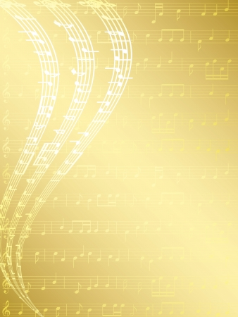 gold musical background with notes